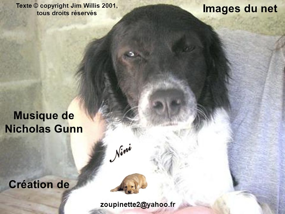 Création de zoupinette2@yahoo.fr Texte © copyright Jim Willis 2001, tous droits réservés Images du net Musique de Nicholas Gunn