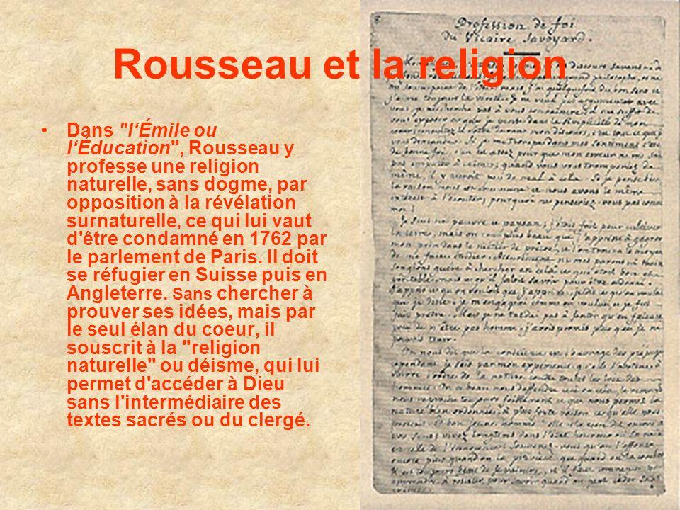 Rousseau et la religion Dans