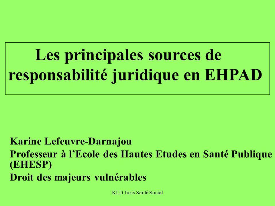 KLD Juris Santé Social Propos introductifs autour de 3 questions clé Quels sont les acteurs possibles de la responsabilité juridique en EHPAD.