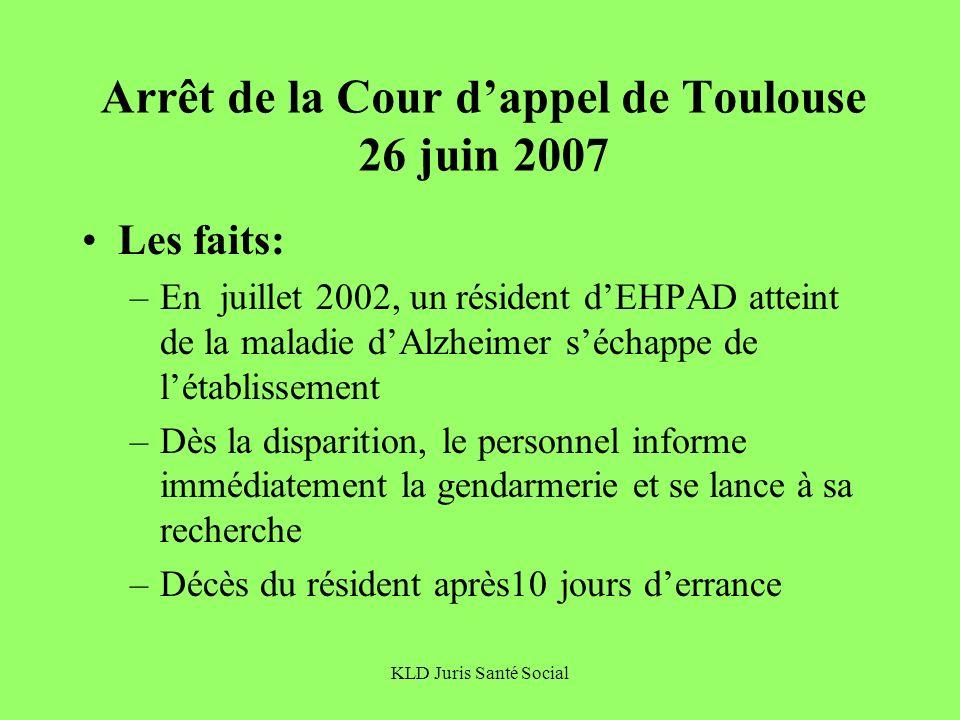 KLD Juris Santé Social Arrêt de la Cour dappel de Toulouse 26 juin 2007 Les faits: –En juillet 2002, un résident dEHPAD atteint de la maladie dAlzheim