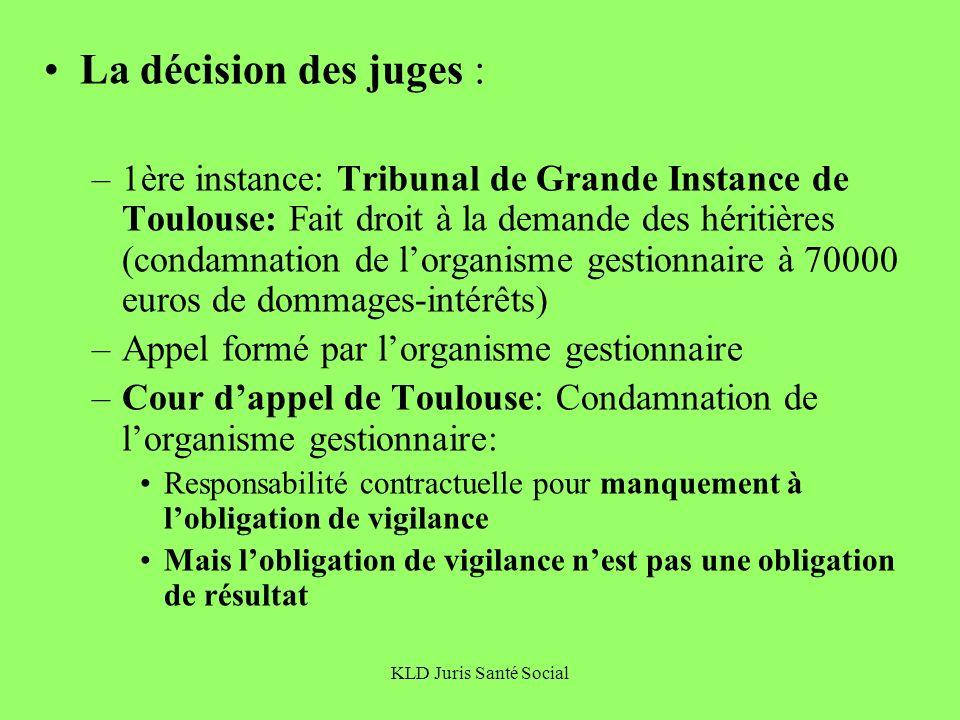 KLD Juris Santé Social La décision des juges : –1ère instance: Tribunal de Grande Instance de Toulouse: Fait droit à la demande des héritières (condam