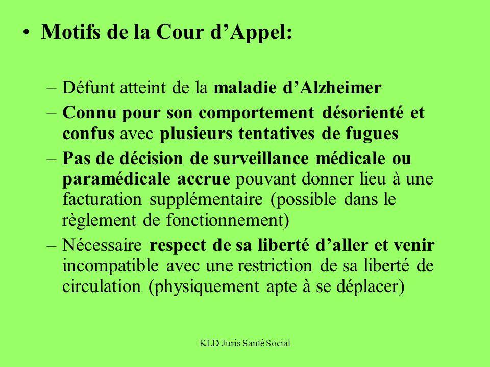 KLD Juris Santé Social Motifs de la Cour dAppel: –Défunt atteint de la maladie dAlzheimer –Connu pour son comportement désorienté et confus avec plusi