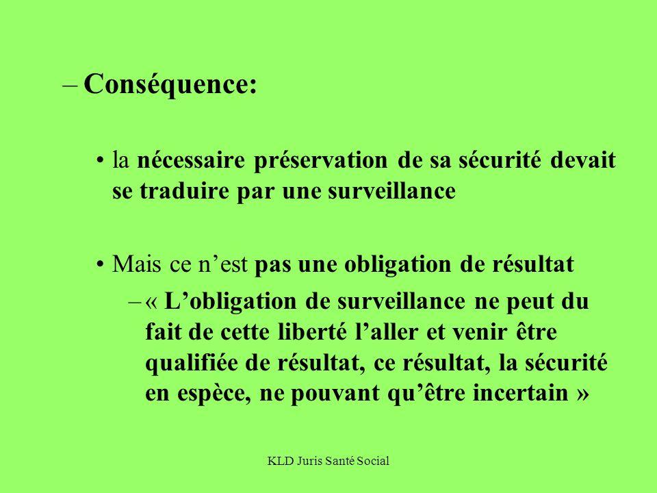 KLD Juris Santé Social –Conséquence: la nécessaire préservation de sa sécurité devait se traduire par une surveillance Mais ce nest pas une obligation