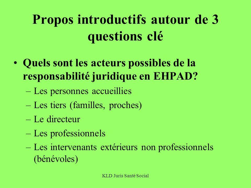 KLD Juris Santé Social Propos introductifs autour de 3 questions clé Quels sont les acteurs possibles de la responsabilité juridique en EHPAD? –Les pe