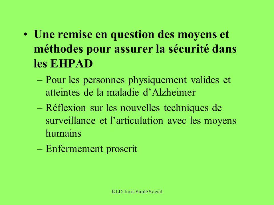 KLD Juris Santé Social Une remise en question des moyens et méthodes pour assurer la sécurité dans les EHPAD –Pour les personnes physiquement valides