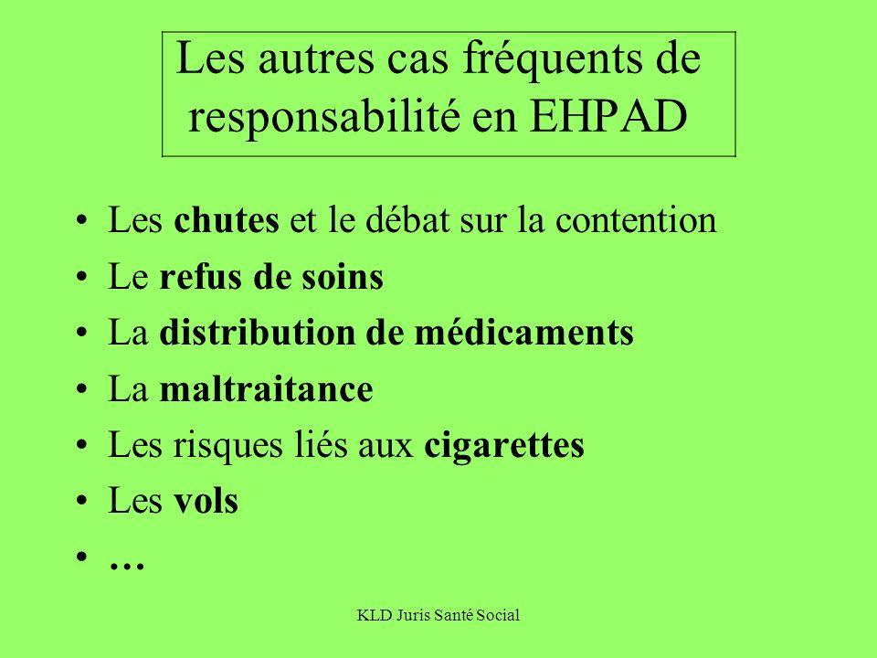 KLD Juris Santé Social Les autres cas fréquents de responsabilité en EHPAD Les chutes et le débat sur la contention Le refus de soins La distribution