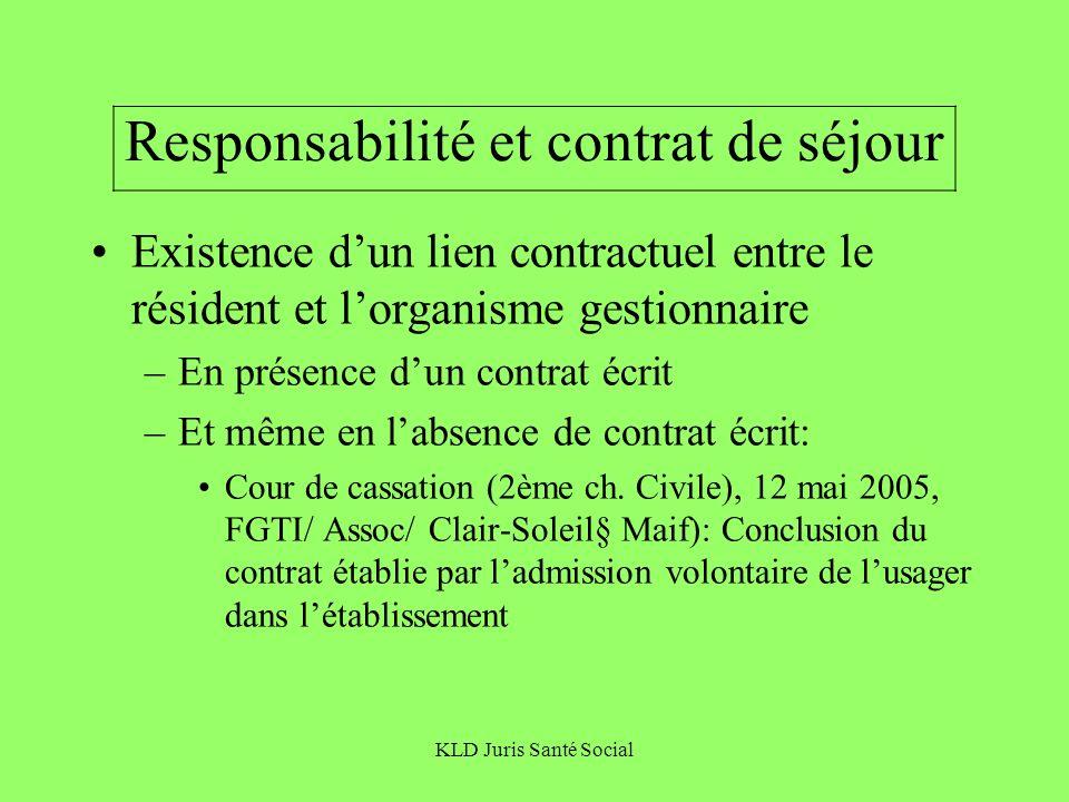 KLD Juris Santé Social Responsabilité et contrat de séjour Existence dun lien contractuel entre le résident et lorganisme gestionnaire –En présence du