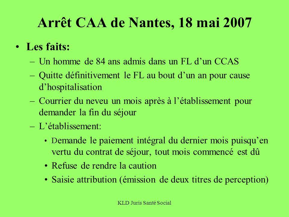 KLD Juris Santé Social Arrêt CAA de Nantes, 18 mai 2007 Les faits: –Un homme de 84 ans admis dans un FL dun CCAS –Quitte définitivement le FL au bout