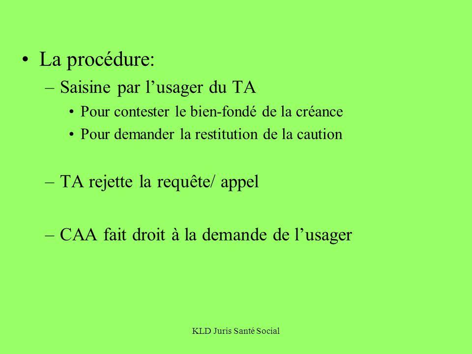 KLD Juris Santé Social La procédure: –Saisine par lusager du TA Pour contester le bien-fondé de la créance Pour demander la restitution de la caution