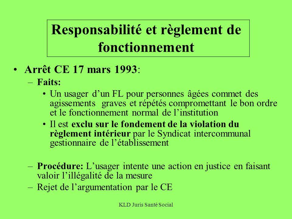 KLD Juris Santé Social Responsabilité et règlement de fonctionnement Arrêt CE 17 mars 1993: –Faits: Un usager dun FL pour personnes âgées commet des a