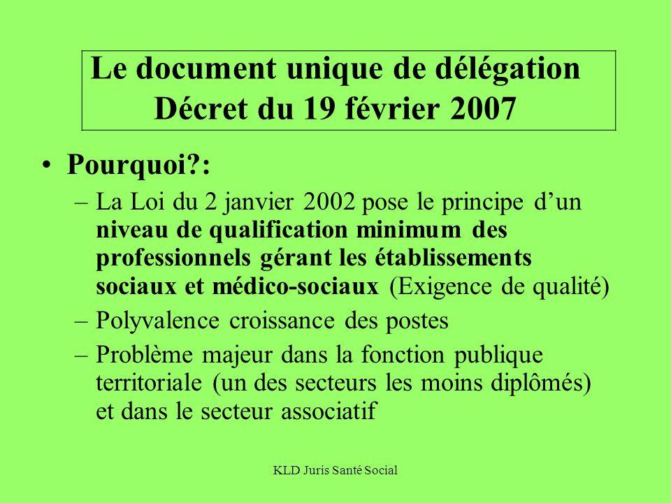 KLD Juris Santé Social Le document unique de délégation Décret du 19 février 2007 Pourquoi?: –La Loi du 2 janvier 2002 pose le principe dun niveau de