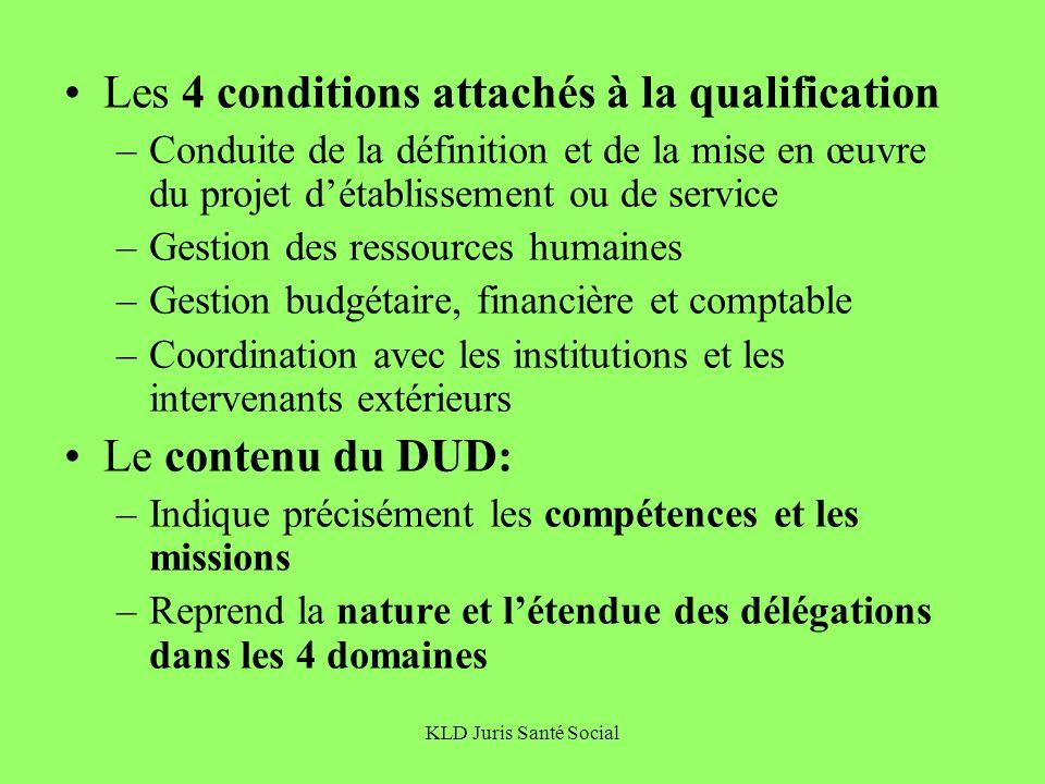 KLD Juris Santé Social Les 4 conditions attachés à la qualification –Conduite de la définition et de la mise en œuvre du projet détablissement ou de s