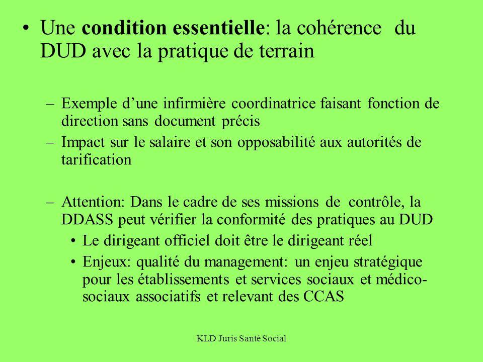 KLD Juris Santé Social Une condition essentielle: la cohérence du DUD avec la pratique de terrain –Exemple dune infirmière coordinatrice faisant fonct