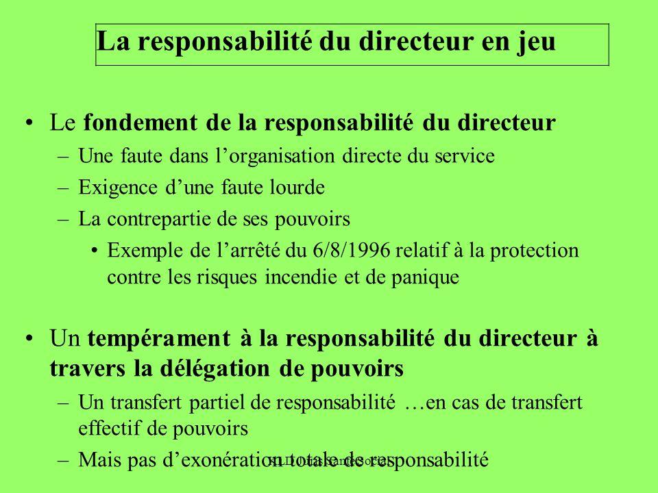 KLD Juris Santé Social La responsabilité du directeur en jeu Le fondement de la responsabilité du directeur –Une faute dans lorganisation directe du s