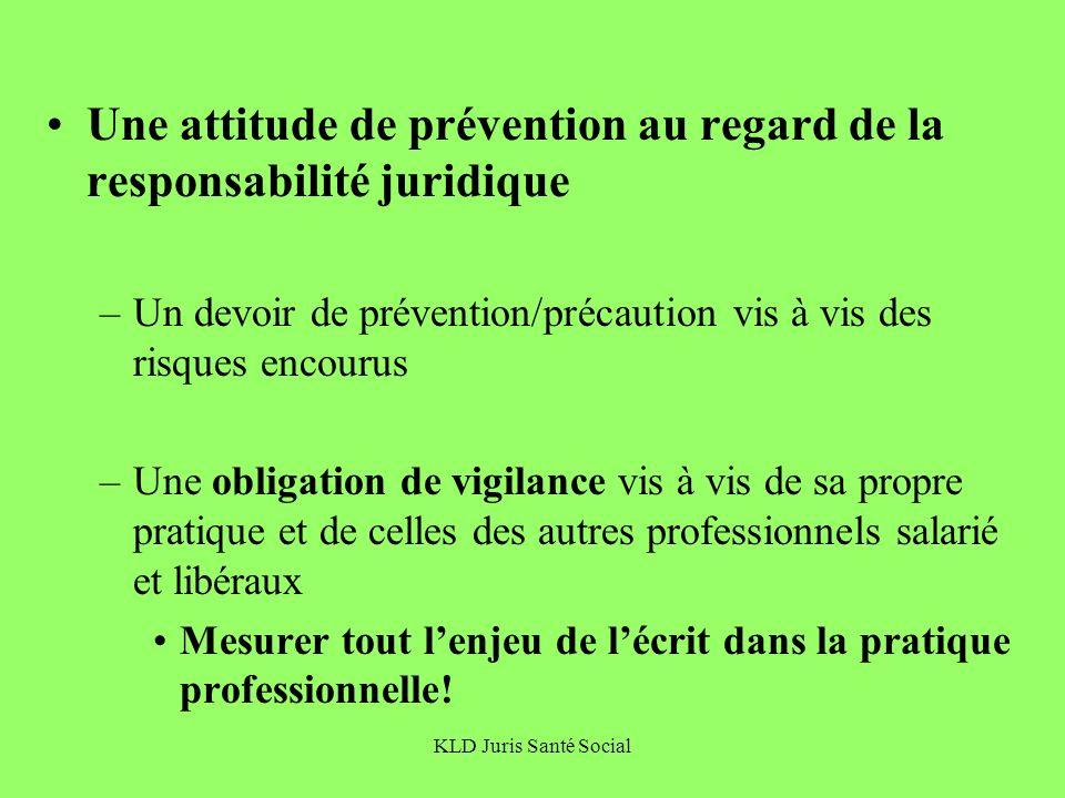 KLD Juris Santé Social Une attitude de prévention au regard de la responsabilité juridique –Un devoir de prévention/précaution vis à vis des risques e