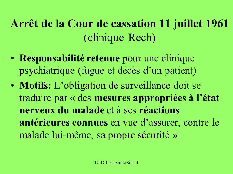 KLD Juris Santé Social Arrêt de la Cour de cassation 11 juillet 1961 (clinique Rech) Responsabilité retenue pour une clinique psychiatrique (fugue et