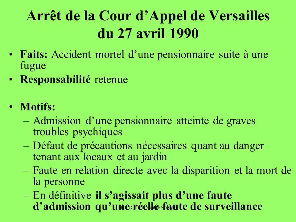 KLD Juris Santé Social Arrêt de la Cour dAppel de Versailles du 27 avril 1990 Faits: Accident mortel dune pensionnaire suite à une fugue Responsabilit