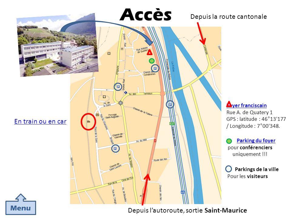 Parkings de la ville Pour les visiteurs Parking du foyer pour conférenciers uniquement !!! Foyer franciscain Rue A. de Quatery 1 GPS : latitude : 46°1