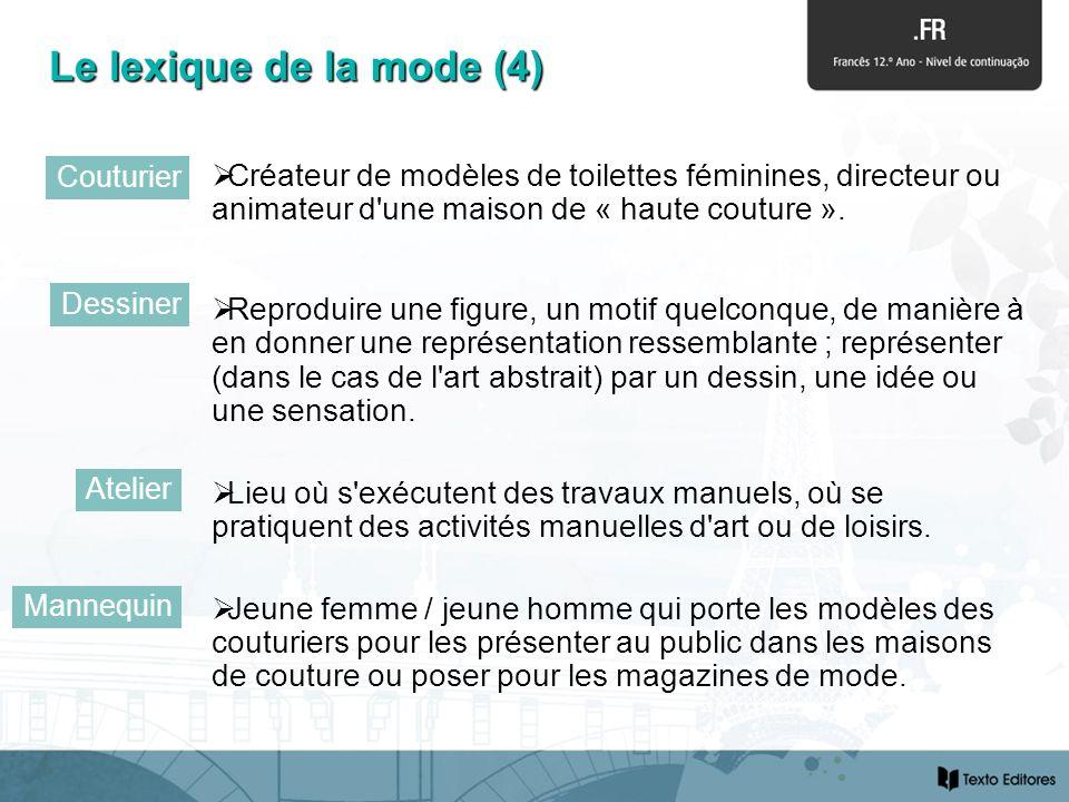Créateur de modèles de toilettes féminines, directeur ou animateur d'une maison de « haute couture ». Reproduire une figure, un motif quelconque, de m