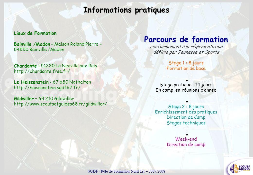 Informations pratiques Lieux de Formation Bainville /Madon – Maison Roland Pierre – 54550 Bainville /Madon Chardante - 51330 La Neuville aux Bois http