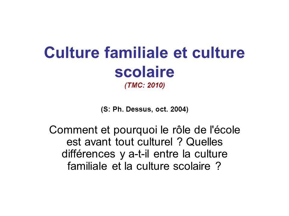 Culture familiale et culture scolaire (TMC: 2010) (S: Ph.