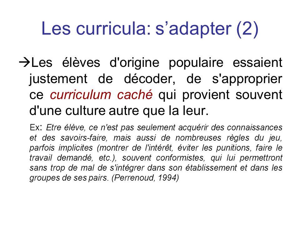 Les curricula: sadapter (2) Les élèves d origine populaire essaient justement de décoder, de s approprier ce curriculum caché qui provient souvent d une culture autre que la leur.