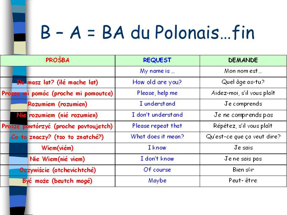 B – A = BA du Polonais…suite