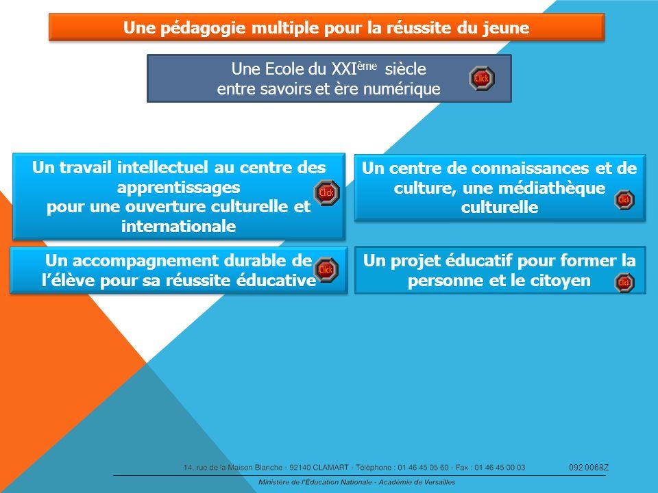 Une pédagogie multiple pour la réussite du jeune Un travail intellectuel au centre des apprentissages pour une ouverture culturelle et internationale