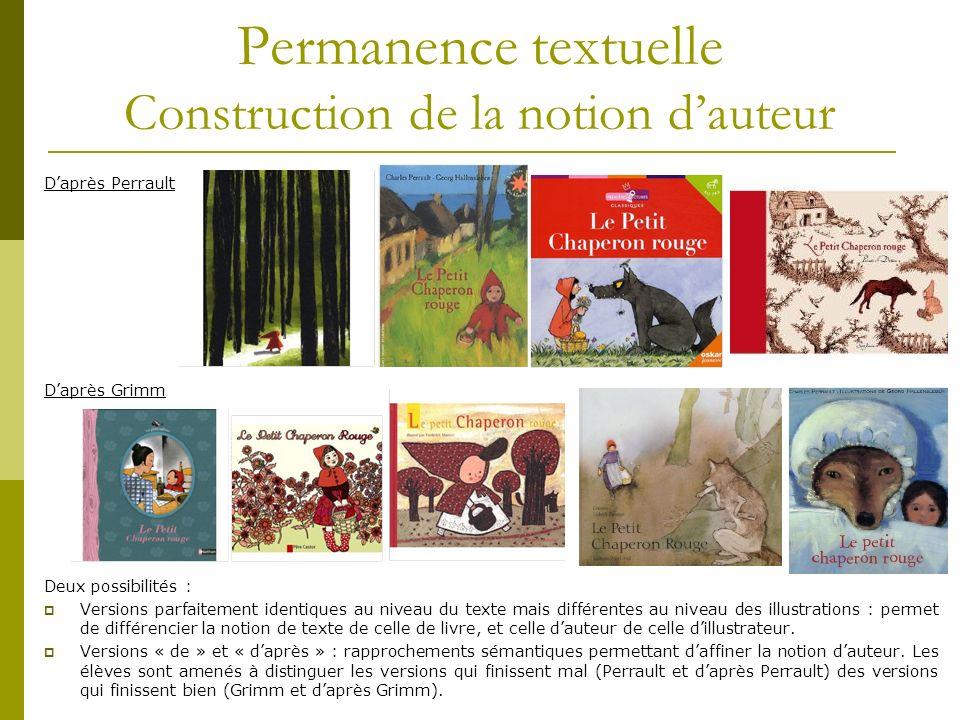 Permanence textuelle Construction de la notion dauteur Daprès Perrault Daprès Grimm Deux possibilités : Versions parfaitement identiques au niveau du