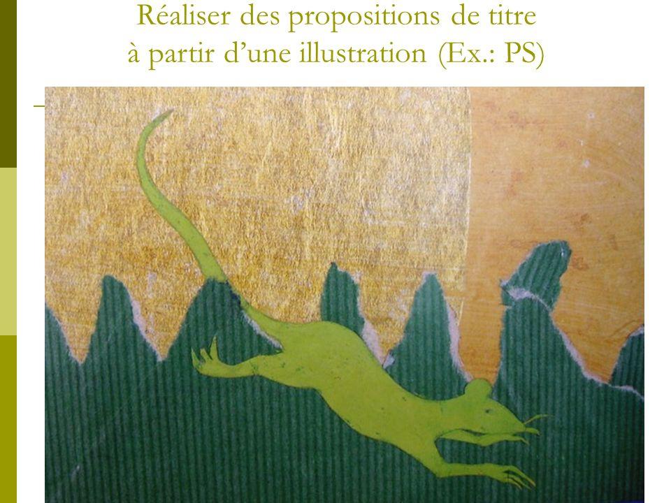 Réaliser des propositions de titre à partir dune illustration (Ex.: PS)