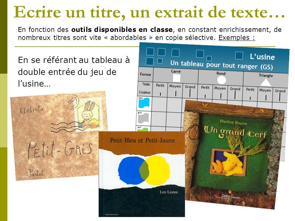 Ecrire un titre, un extrait de texte… En fonction des outils disponibles en classe, en constant enrichissement, de nombreux titres sont vite « abordables » en copie sélective.