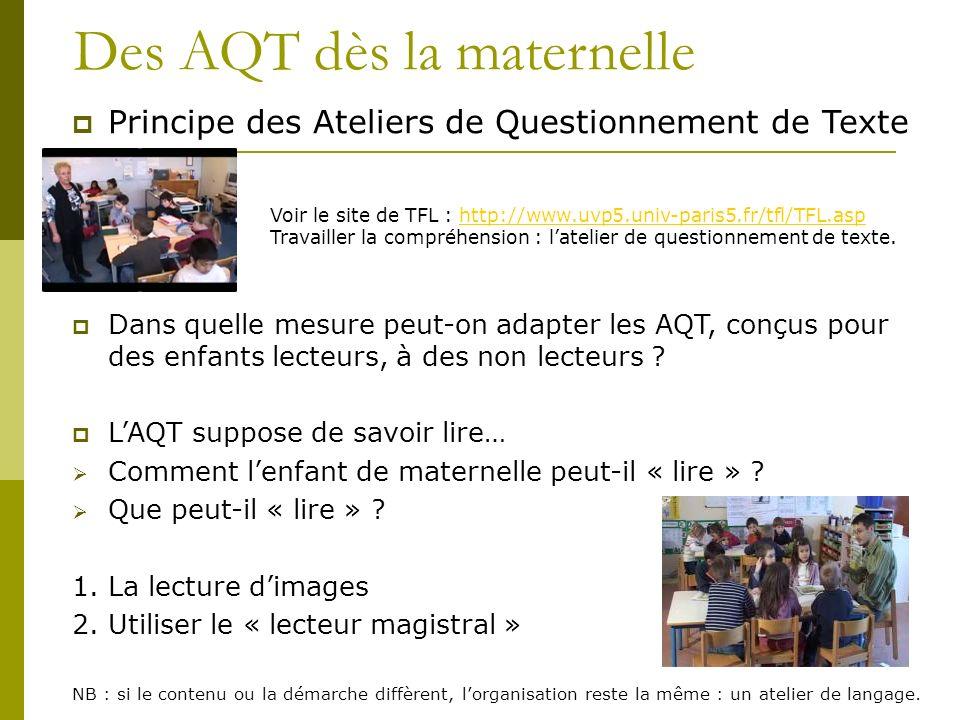 Des AQT dès la maternelle Principe des Ateliers de Questionnement de Texte Dans quelle mesure peut-on adapter les AQT, conçus pour des enfants lecteur