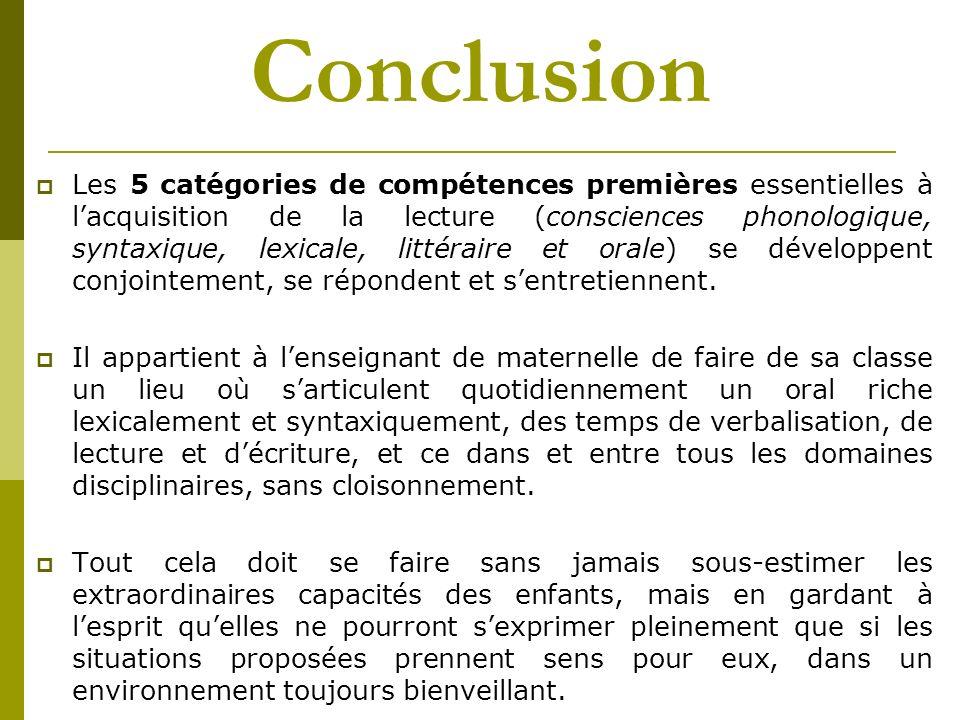 Conclusion Les 5 catégories de compétences premières essentielles à lacquisition de la lecture (consciences phonologique, syntaxique, lexicale, littér
