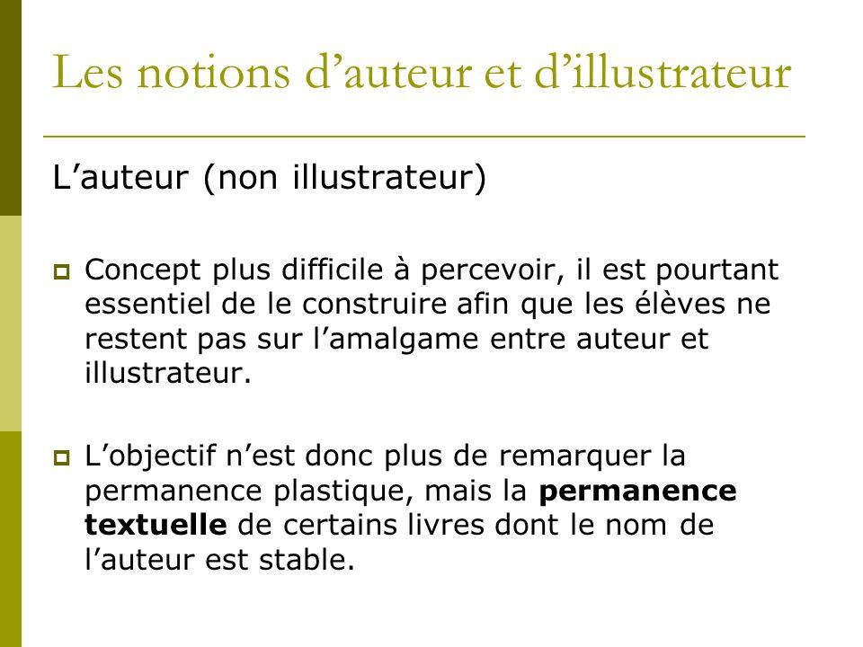 Les notions dauteur et dillustrateur Lauteur (non illustrateur) Concept plus difficile à percevoir, il est pourtant essentiel de le construire afin que les élèves ne restent pas sur lamalgame entre auteur et illustrateur.