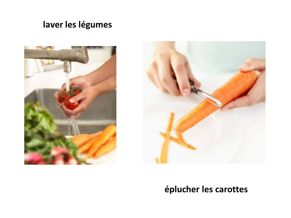 laver les légumes éplucher les carottes