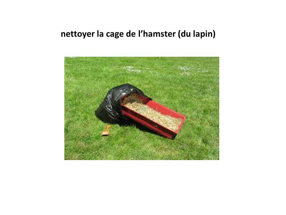 nettoyer la cage de lhamster (du lapin)