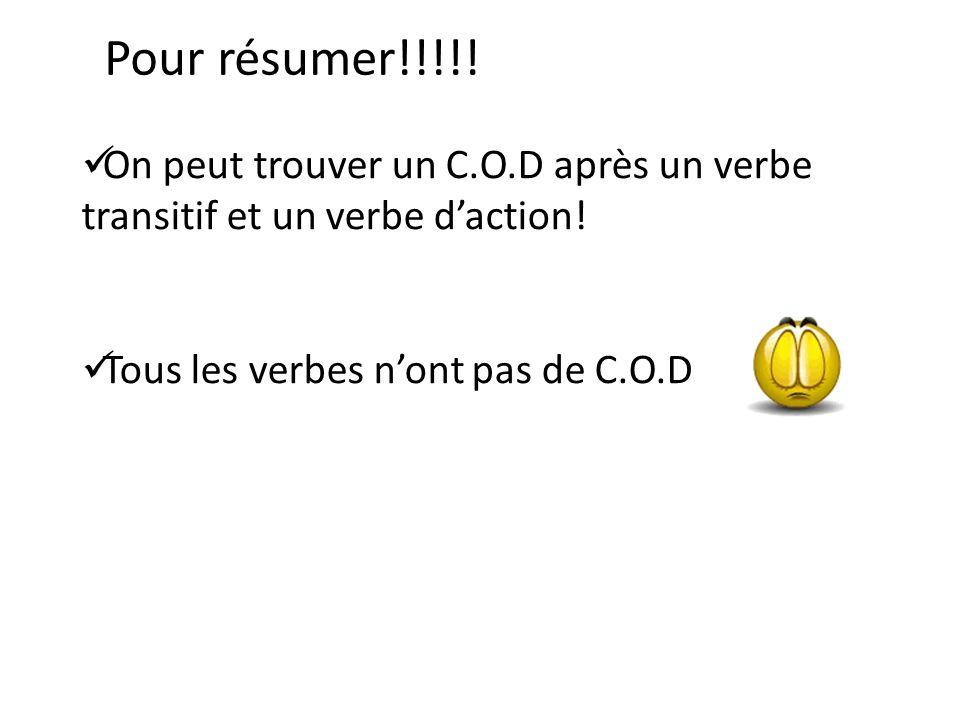 Pour résumer!!!!! On peut trouver un C.O.D après un verbe transitif et un verbe daction! Tous les verbes nont pas de C.O.D