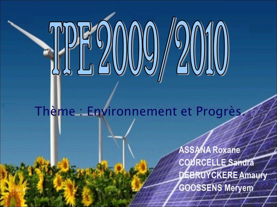 Thème : Environnement et Progrès. ASSANA Roxane COURCELLE Sandra DEBRUYCKERE Amaury GOOSSENS Meryem