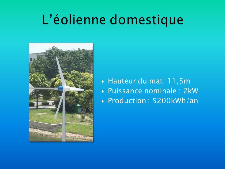 Léolienne domestique Hauteur du mat: 11,5m Puissance nominale : 2kW Production : 5200kWh/an