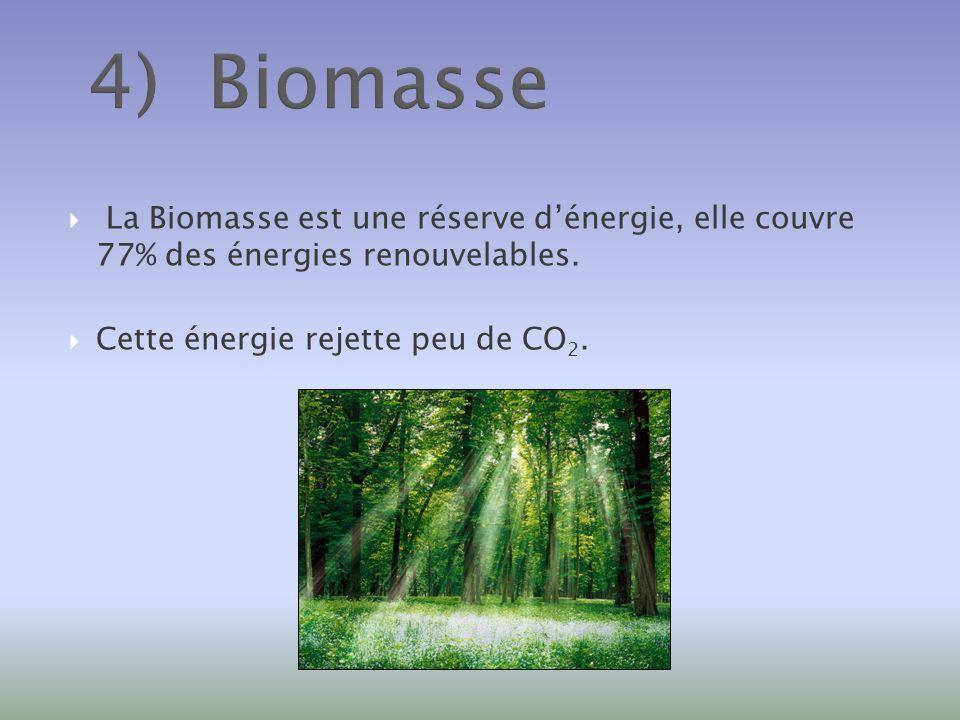 4) Biomasse La Biomasse est une réserve dénergie, elle couvre 77% des énergies renouvelables. Cette énergie rejette peu de CO 2.