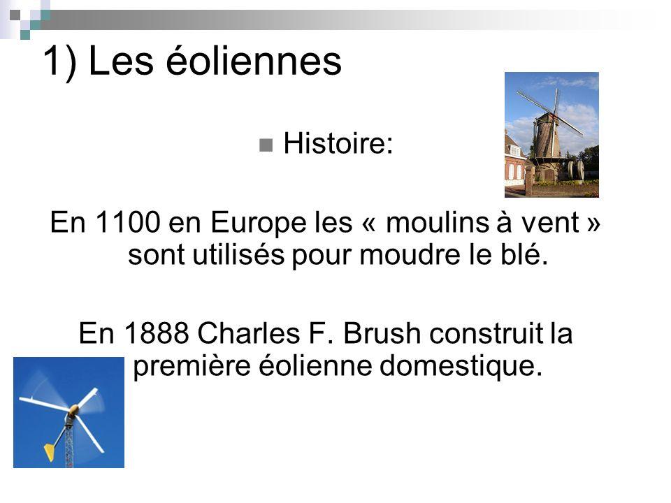 1) Les éoliennes Histoire: En 1100 en Europe les « moulins à vent » sont utilisés pour moudre le blé. En 1888 Charles F. Brush construit la première é