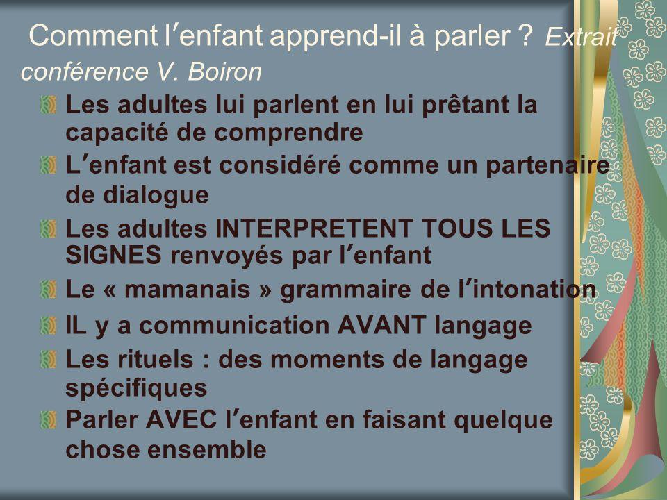 Comment lenfant apprend-il à parler ? Extrait conférence V. Boiron Les adultes lui parlent en lui prêtant la capacité de comprendre Lenfant est consid