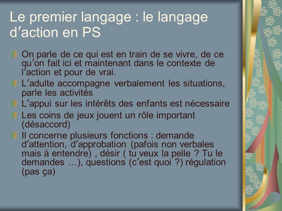 Le premier langage : le langage daction en PS On parle de ce qui est en train de se vivre, de ce quon fait ici et maintenant dans le contexte de lacti