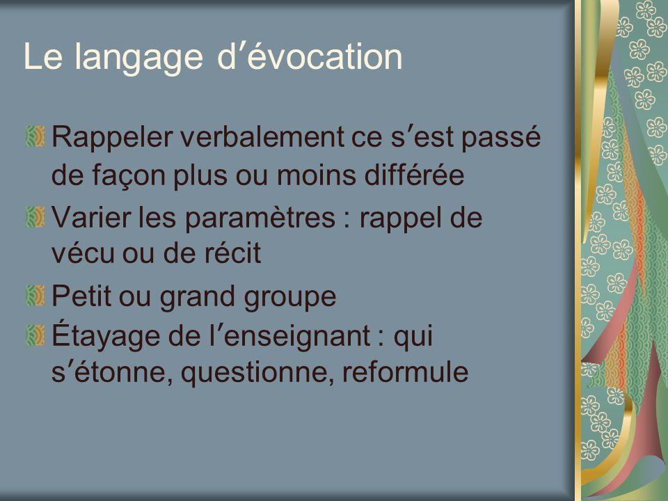 Le langage dévocation Rappeler verbalement ce sest passé de façon plus ou moins différée Varier les paramètres : rappel de vécu ou de récit Petit ou g