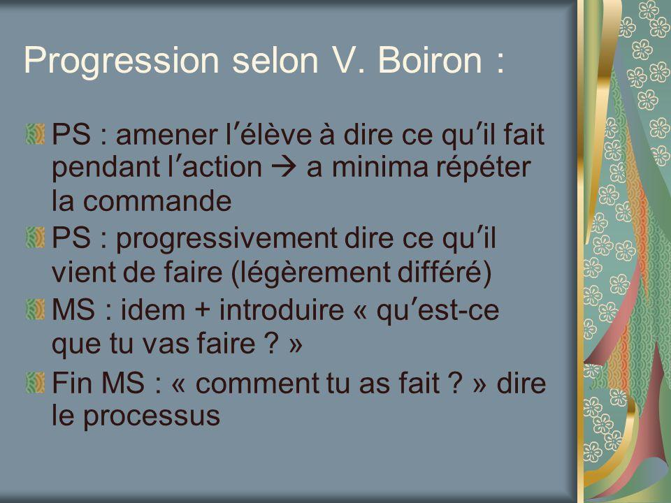 Progression selon V. Boiron : PS : amener lélève à dire ce quil fait pendant laction a minima répéter la commande PS : progressivement dire ce quil vi