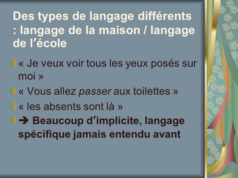 Des types de langage différents : langage de la maison / langage de lécole « Je veux voir tous les yeux posés sur moi » « Vous allez passer aux toilet