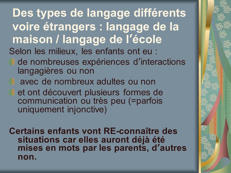 Des types de langage différents voire étrangers : langage de la maison / langage de lécole Selon les milieux, les enfants ont eu : de nombreuses expér