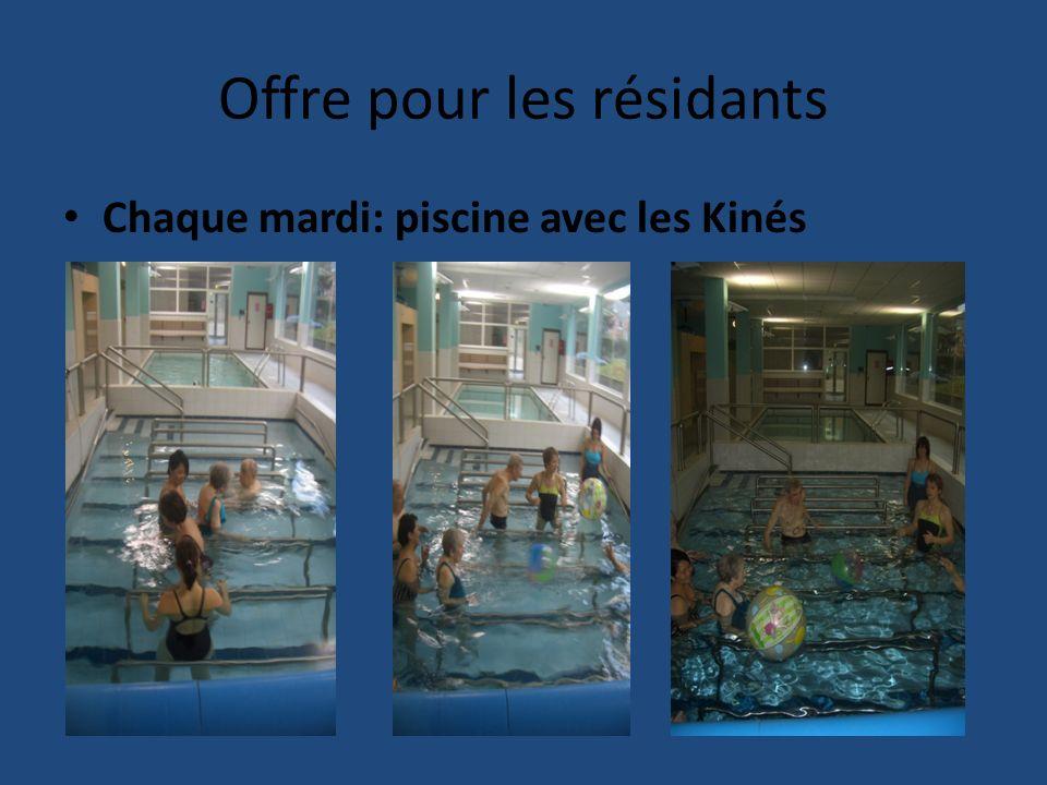 Offre pour les résidants Chaque mardi: piscine avec les Kinés