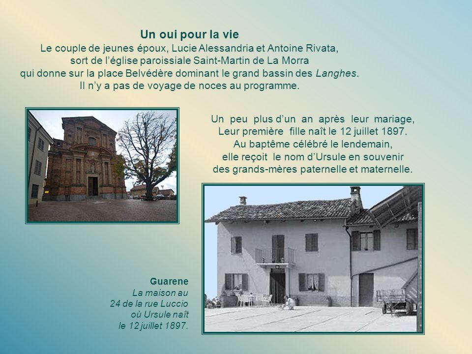 Un oui pour la vie Le couple de jeunes époux, Lucie Alessandria et Antoine Rivata, sort de léglise paroissiale Saint-Martin de La Morra qui donne sur la place Belvédère dominant le grand bassin des Langhes.