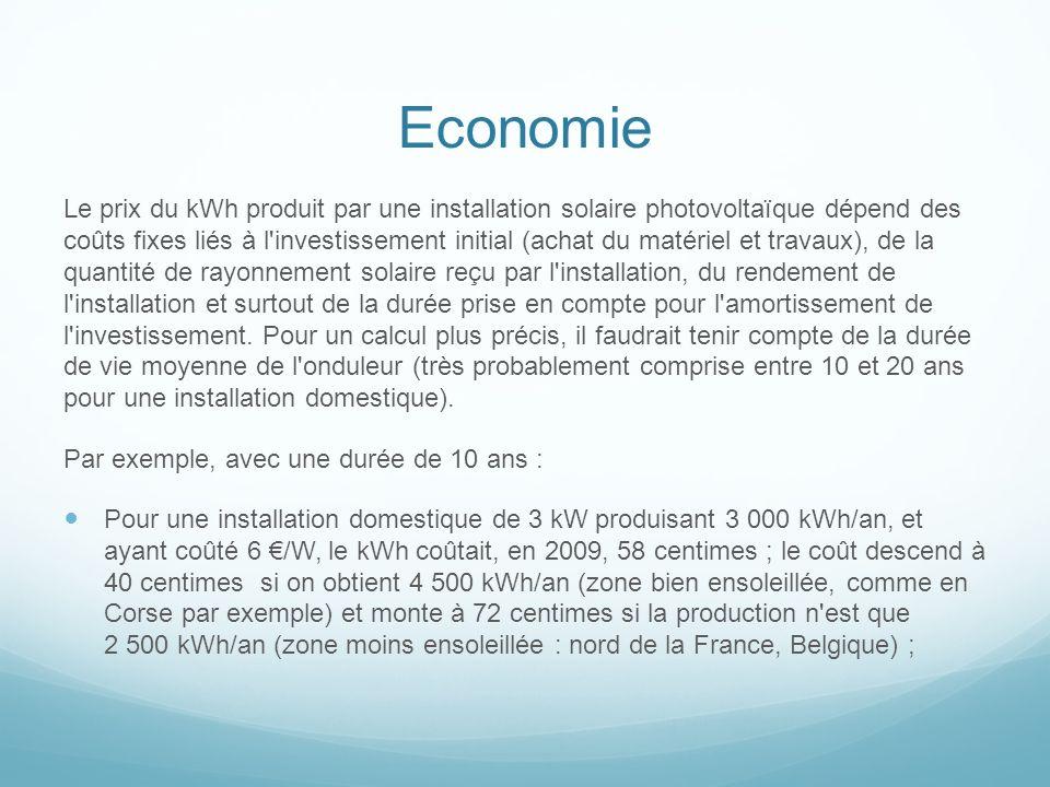 Economie Le prix du kWh produit par une installation solaire photovoltaïque dépend des coûts fixes liés à l'investissement initial (achat du matériel